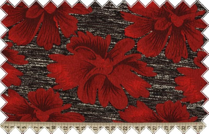 Šedá pevná společenská látka s většími tmavě červenými květy, š.160 cm