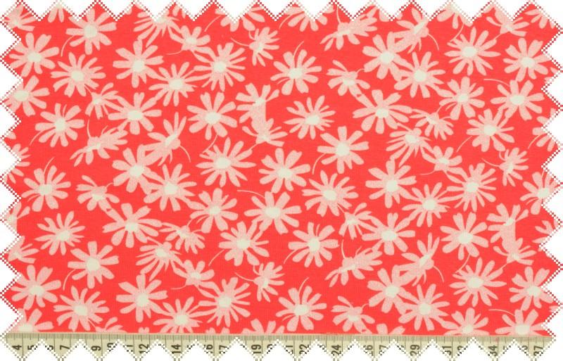 Červený elastický úplet s bílými kvítky, š. 150 cm