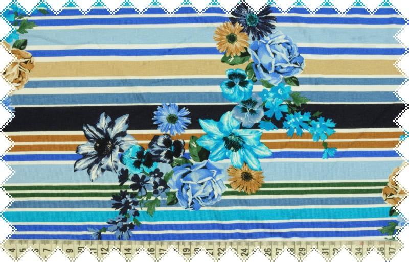 Modrý úplet s proužky a květy š. 160 cm