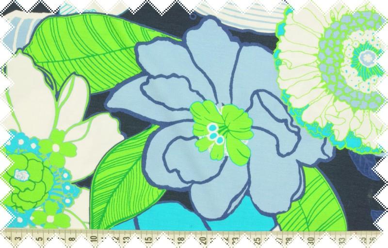 Modro-zelený úplet s větším květinovým vzorem, š. 155 cm