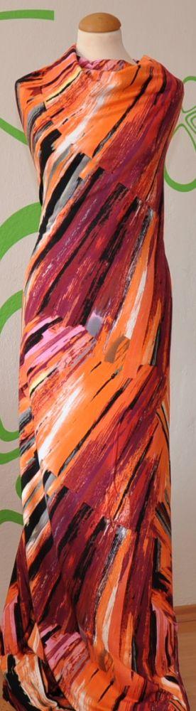 Oranžový úplet se šedým,černým a vínovým vzorem, š. 160 cm