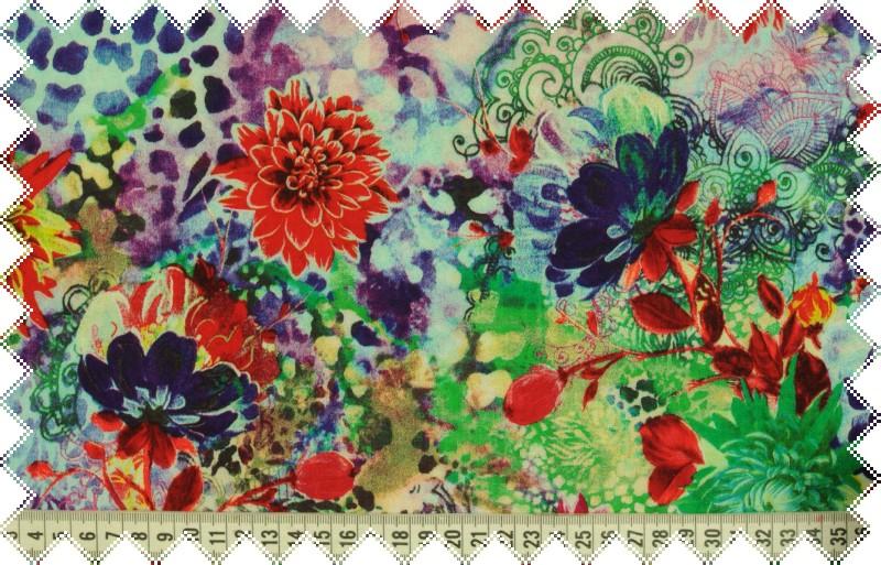 Pestrá červeno-fialová splývavá šatovka s květy š.140 cm