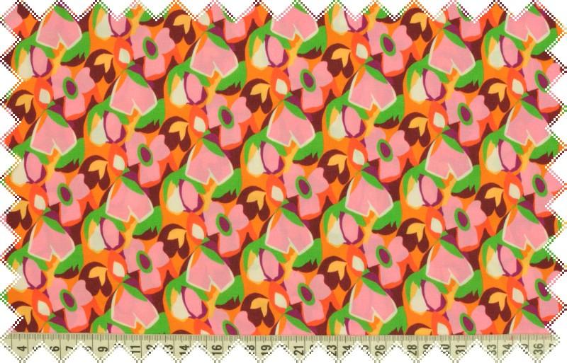 Viskózové splývavé plátno s květy v barvách růžová, oranžová a zelená , š.150 cm