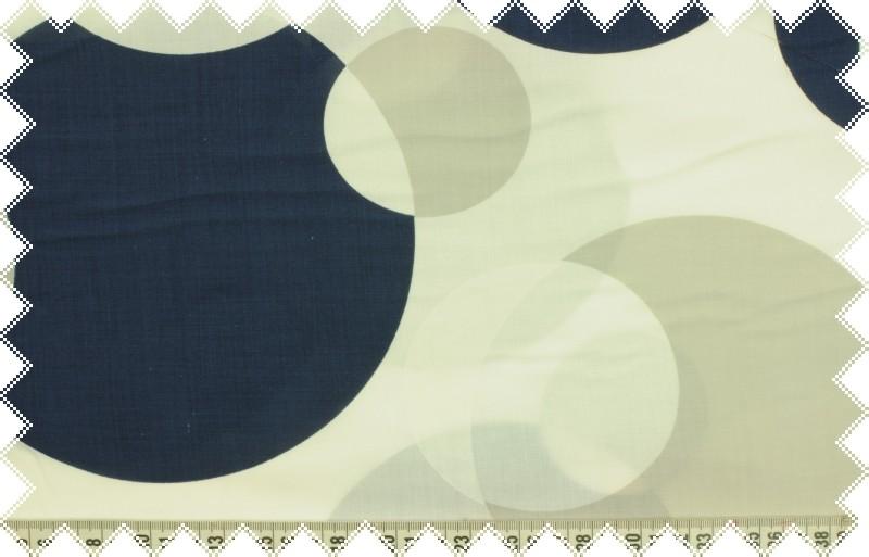 Šedo-modro- bílé plátno s velkými puntíky, š.150 cm