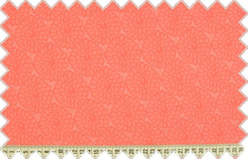 Korálová společenská šatovka s vyráženým květinovým vzorem, š.150 cm