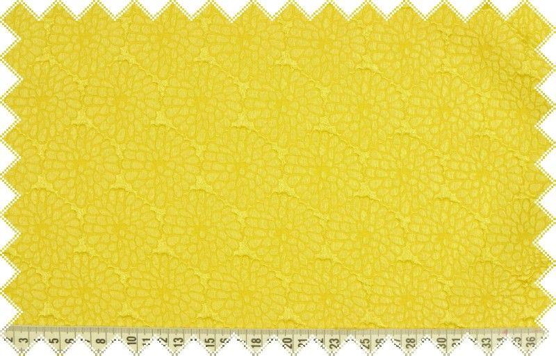 Žlutá společenská šatovka s vyráženým květinovým vzorem, š.150 cm
