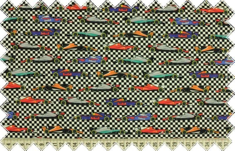 Černo-bílý šachovnicový úplet se vzorem barevných autíček,š.150 cm