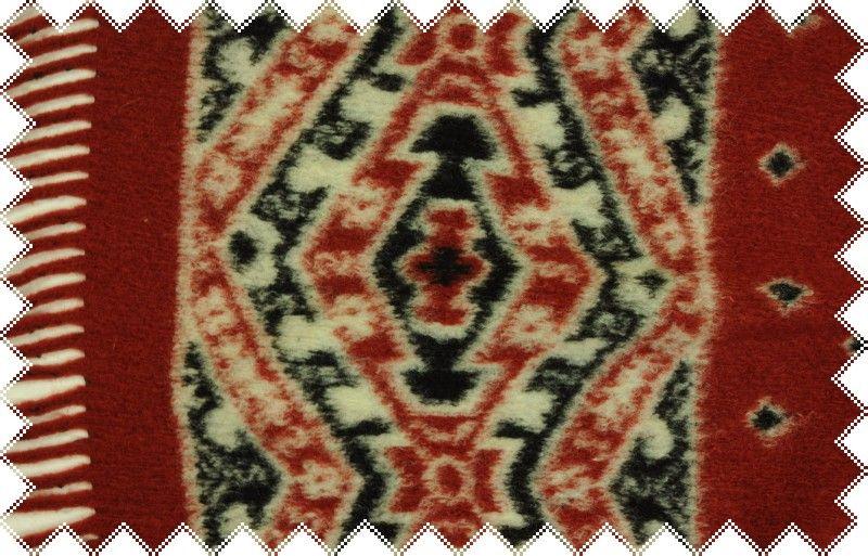 Rezavá vlna se vzorkem a s třásněmi 15 cm podél obou okrajů ,š.160 cm