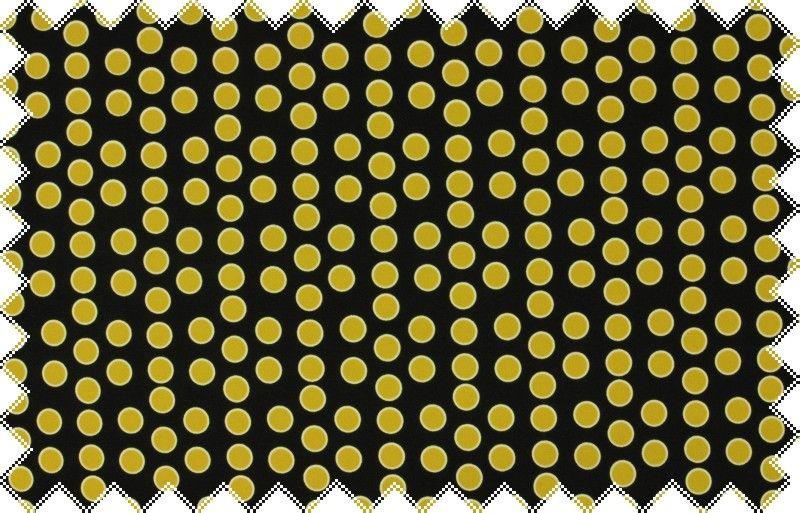 Černá pevnější splývavá šatovka se žlutými puntíky ,š.150 cm