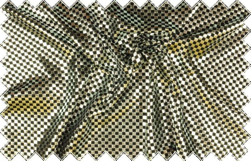 Černý elastický úplet se stříbrným drobným šachovnicovým vzorkem, š.145 cm