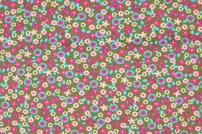 Šedá plavkovina s drobnými růžovýni a modrými kvítky, š.160 cm