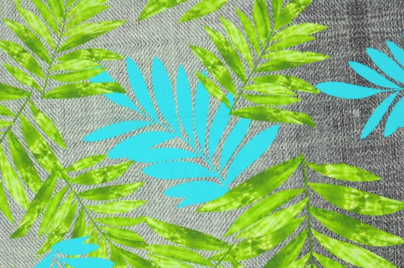 Šedá plavkovina se zeleným a modrým vzorem, š.150 cm