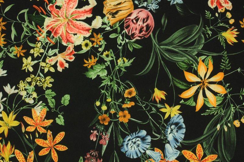 Černá šatovka se žlutými, modrými a oranžovými květy, š.145 cm