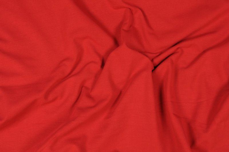 Červený tričkový elastický úplet š.155 cm
