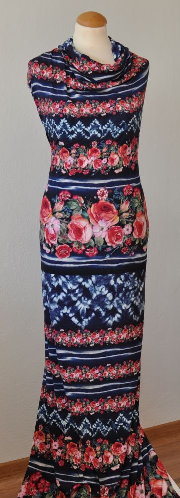 Modrý elastický úplet se vzorem růží, š. 170 cm