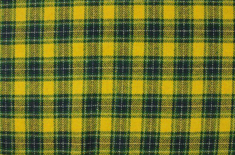 Žlutá vlněná látka se zeleným kárem ,š.155 cm