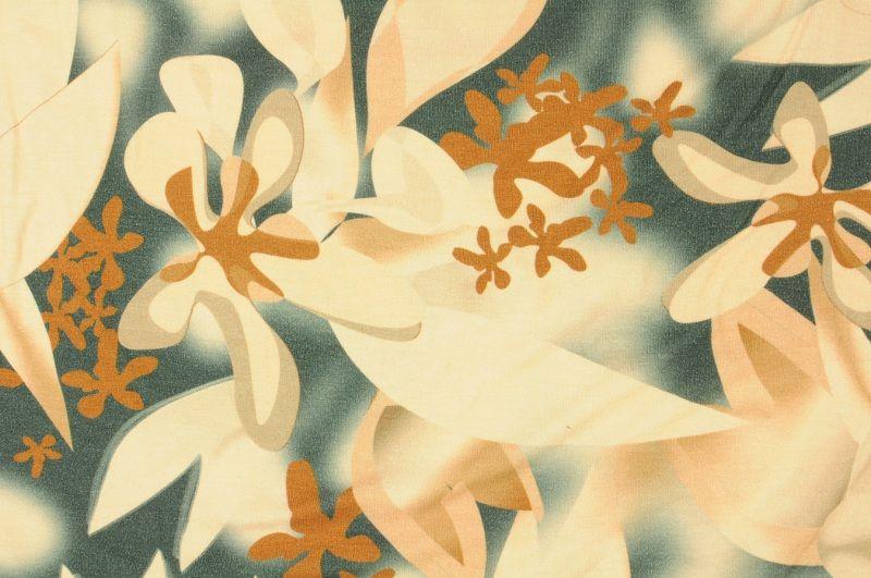 Hnědo- béžový elastický úplet s květinovým vzorem, š. 170 cm