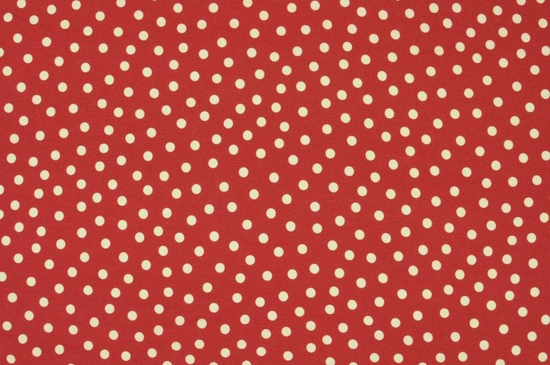 Červený úplet s bílými puntíky, š.150 cm