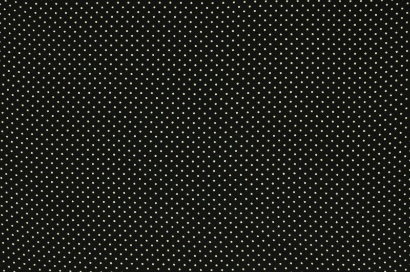 Černá viskóza s bílými puntíčky, š.150 cm