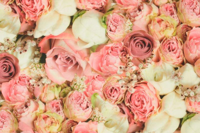 Růžová viskóza se vzorem růží, š.150 cm