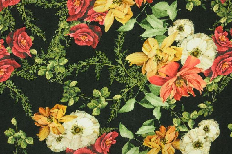 Černá viskóza s barevnými květy, š.150 cm