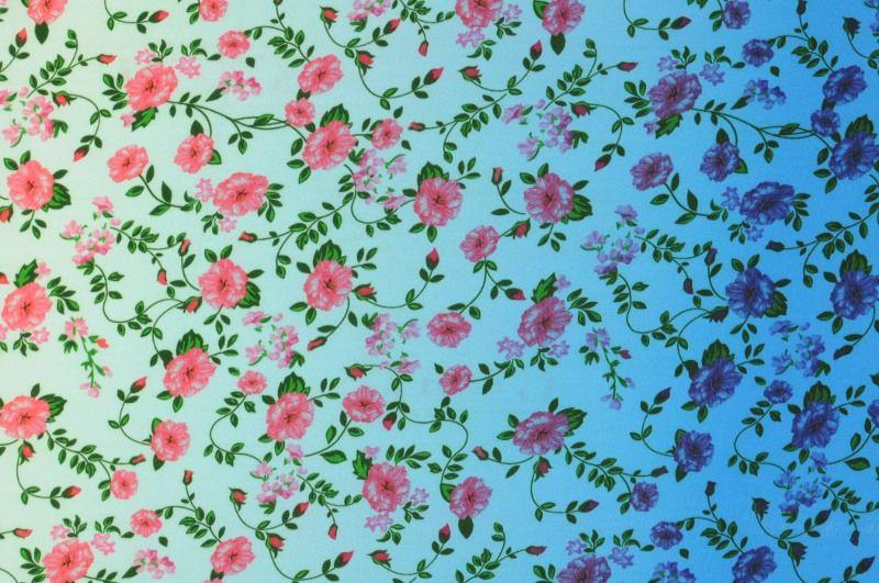 Modrá viskóza s růžovýmí kvítky, š.150 cm