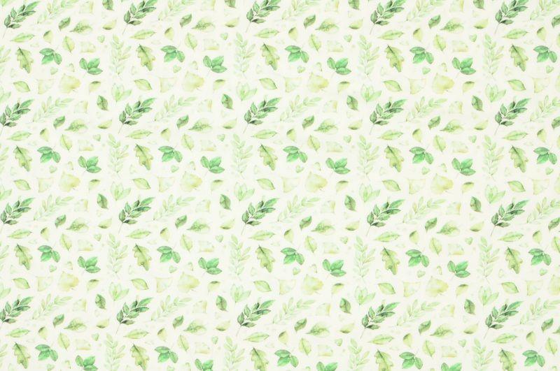Smetanový úplet s jemnými zelenými kytičkami, š.150 cm