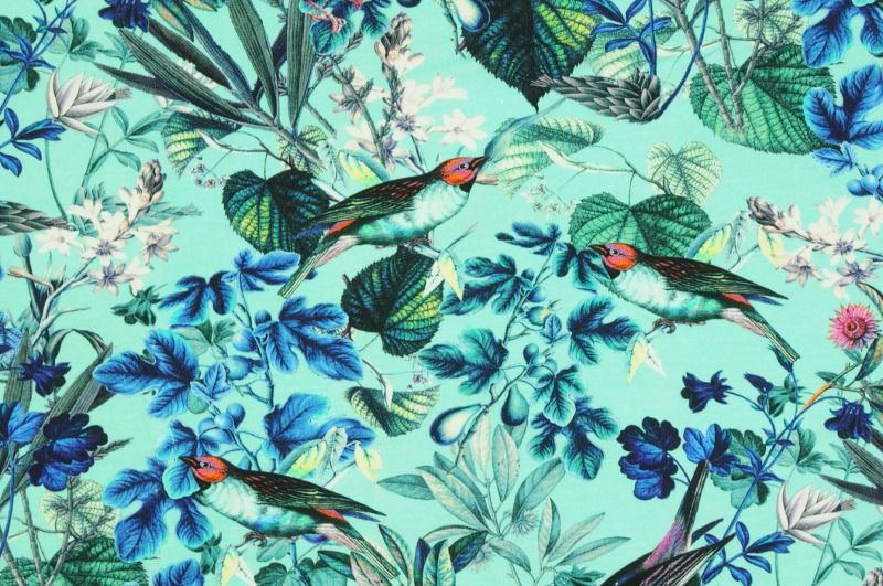 Tyrkysový úplet se vzorem ptáčků a květin, š.150 cm