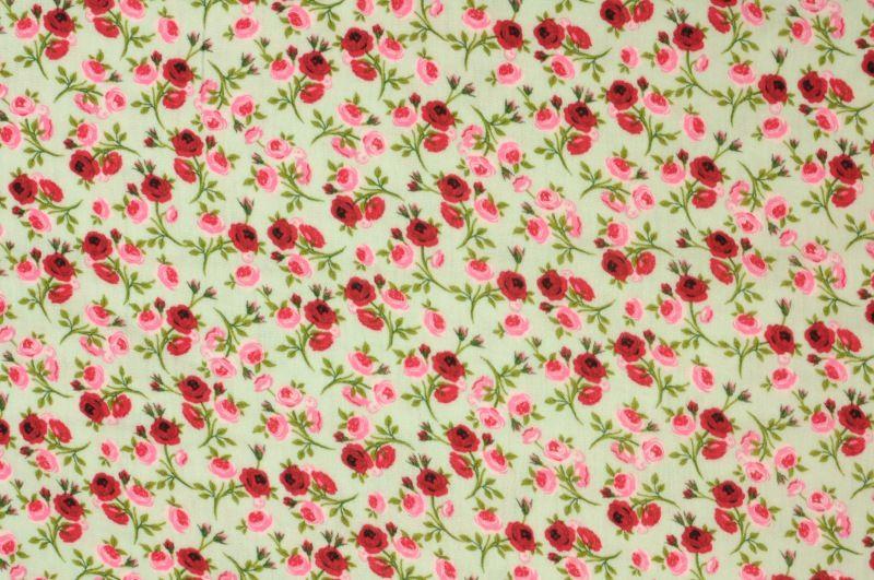 Zelenomodrá fáčovina s růžovýmí kvítky, š.140 cm