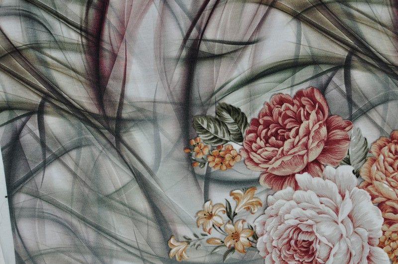 Béžový elastický úplet s hnědými a oranžovými květy , panel po 75 cm, š. 170 cm