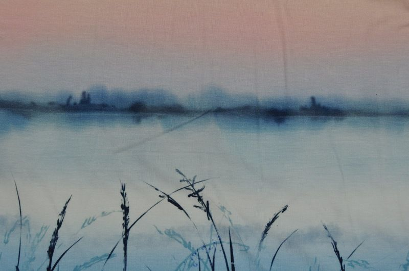 Světle modrý elastický duhový úplet , panel po 80 cm, š. 170 cm