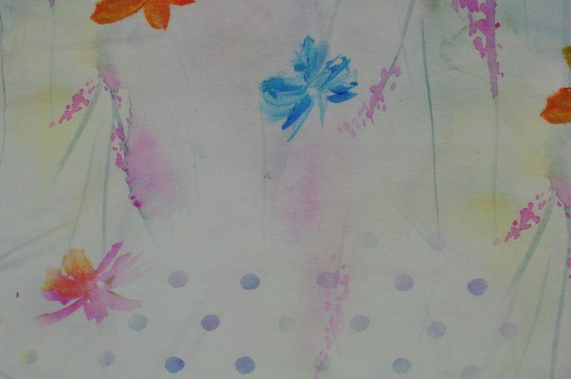Elastický pastelový úplet s jemným vzorem , panel po 70 cm, š. 170 cm