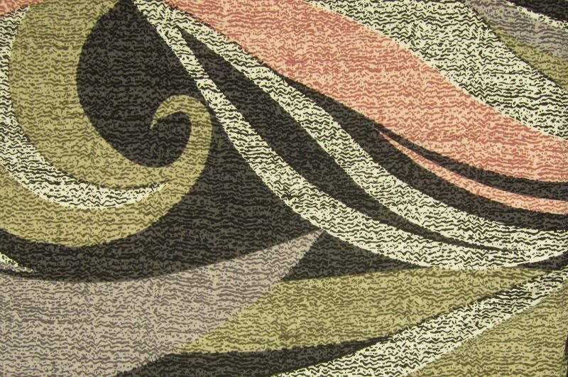 Zelono-šedo- růžový úplet se vzorem, š.160 cm