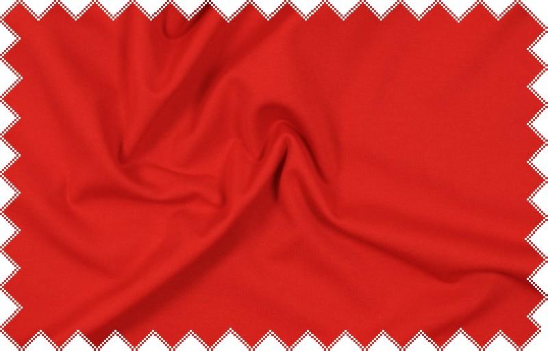 Jasně červený pevnější elastický splývavý úplet , š.150 cm