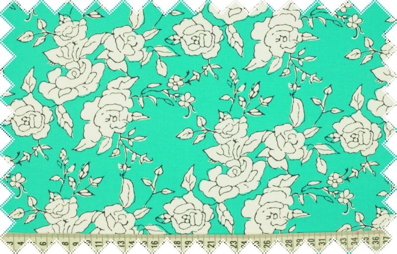 Tyrkysové elastické plátno s bílým květinovým vzorem , š.130 cm