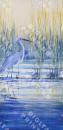 Modrý elastický úplet se vzorem volavky a rákosí , panel po 130 cm, š. 170 cm